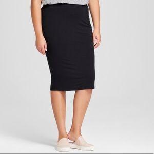Ava & Viv Black Stretchy Pull On Pencil Skirt 1X